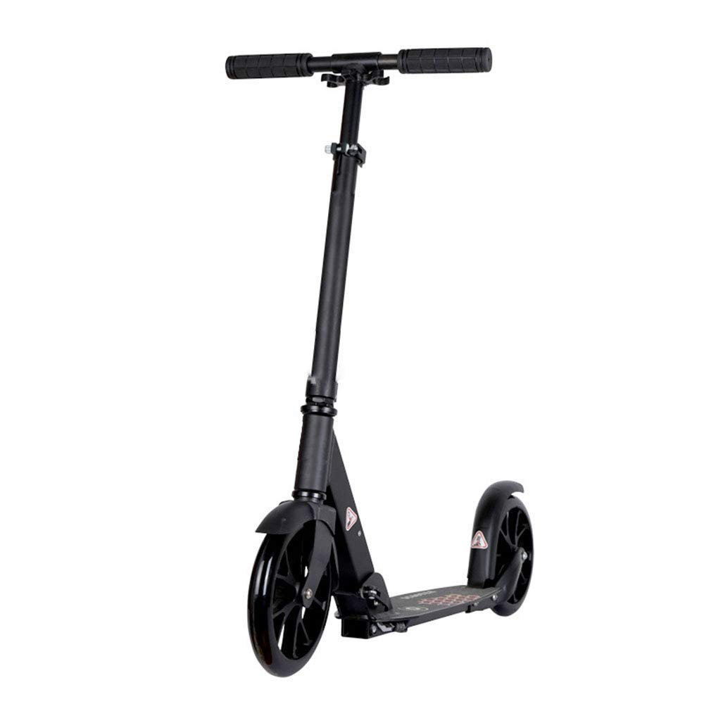 FDSjd Scooter All Aluminum 200MM Wheel Folding Hand Brake Two Rounds to Work City Scooter (Color : Black)