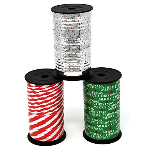 Christmas Ribbons - Christmas Curling Ribbon Pack of 3 Rolls Green, Red & White Stripes, and Metallic Silver; Holiday Party Crafts Supplies Decorations- 100 Yards Per Roll - Total of 900 Feet; By Gift Boutique