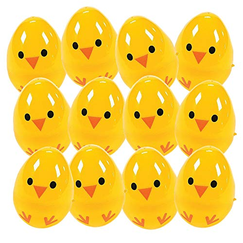 Kicko Chick Easter Eggs - Pack of 12 2.25'' Plastic Chicken Eggs for Easter Basket Fillers, Treasure Chest Stuffers, Novelty Toy, Party Supplies