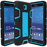 E LV T230 High Impact Resistant Full-body Protection Hybrid Armor Defender Case with Convertible Built in Stand for Samsung Galaxy Tab 4 - Black/Turquoise