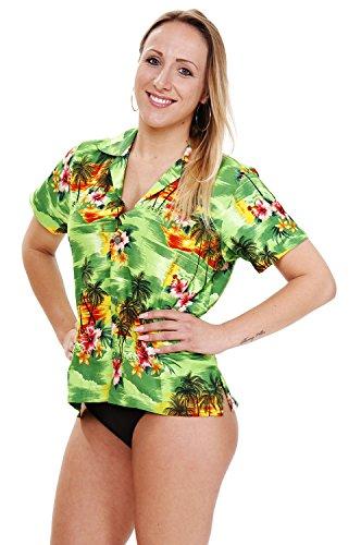 Funky Hawaiian Blouse, Pink Flower, green, S