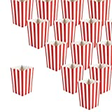 Set of 100 Popcorn Favor Boxes - Carnival Parties Mini Paper Popcorn Containers, Popcorn Party Supplies for Movie Nights, Movie-Themed Parties, Red and White - 3.5 x 5.5 x 3.5 Inches