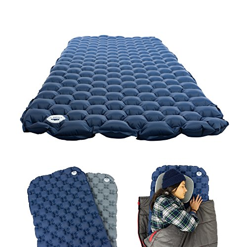 Leisure Co Ultralight Inflatable Sleeping Pad - Air Camping Mat for Backpacking, Hiking and Traveling - Arched Dome Design Molds to Curves - Rated down to 35º - Only Weighs 1lb