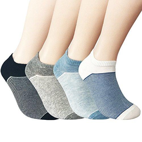 JOYCA & Co. 4 Pairs Unisex All Season Soft Cotton Low Cut No Show Socks ,Fine Strip - Neutal (Men's & Women's Shoe Size 6m-11m) (Best Jordan Shoes To Play In)