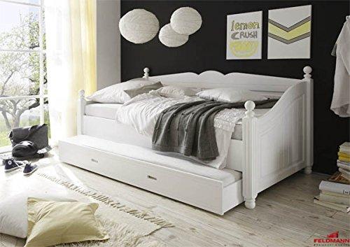 Landhaus Kojenbett 61038 Einzelbett Kiefer teilmassiv weiß lackiert 90x200cm