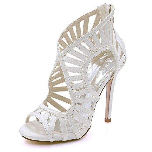 high Sandalias Court shoes Shoes 03 High 3 8 7216 Heel Ivory Cremallera Prom Toe Boda La de Las Mujeres Multicolor de Open Elegant CdxqwRx