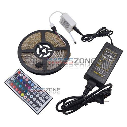 5M 3528 RGB 300 SMD Flexible LED Strip Light w/ 44key Remote + 12V Power Supply -  The Wires Zone, LED-SMD3528-RGB