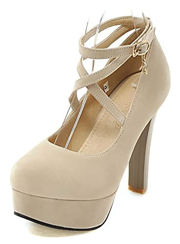 2257e942915 Aisun Women s Fashion Buckled Dressy Strappy Round Toe High Chunky Heel  Platform Pumps Shoes with Ankle