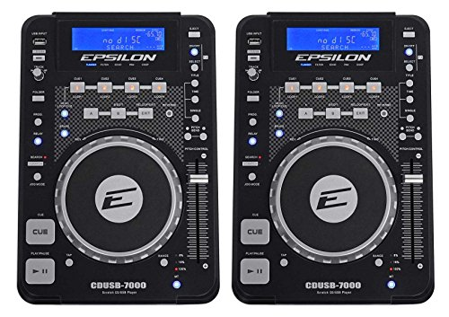 Cd Dj Player ((2) EPSILON CDUSB-7000 Tabletop DJ Scratch CD/MP3/USB Digital Turntable Players)