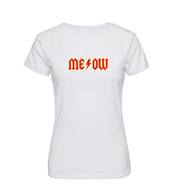 309716e1d3 Meow Cat Rock Metal Band Name_A0050 Women T-Shirt Ladies Shirt Tshirt T  Shirt Gift for Her Fashion Tee Shirts at Amazon Women's Clothing store: