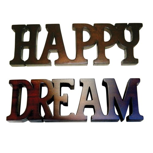 Offex Solid Mahogany Wood Handmade Happy Dream Wall Plaque - Brown ()