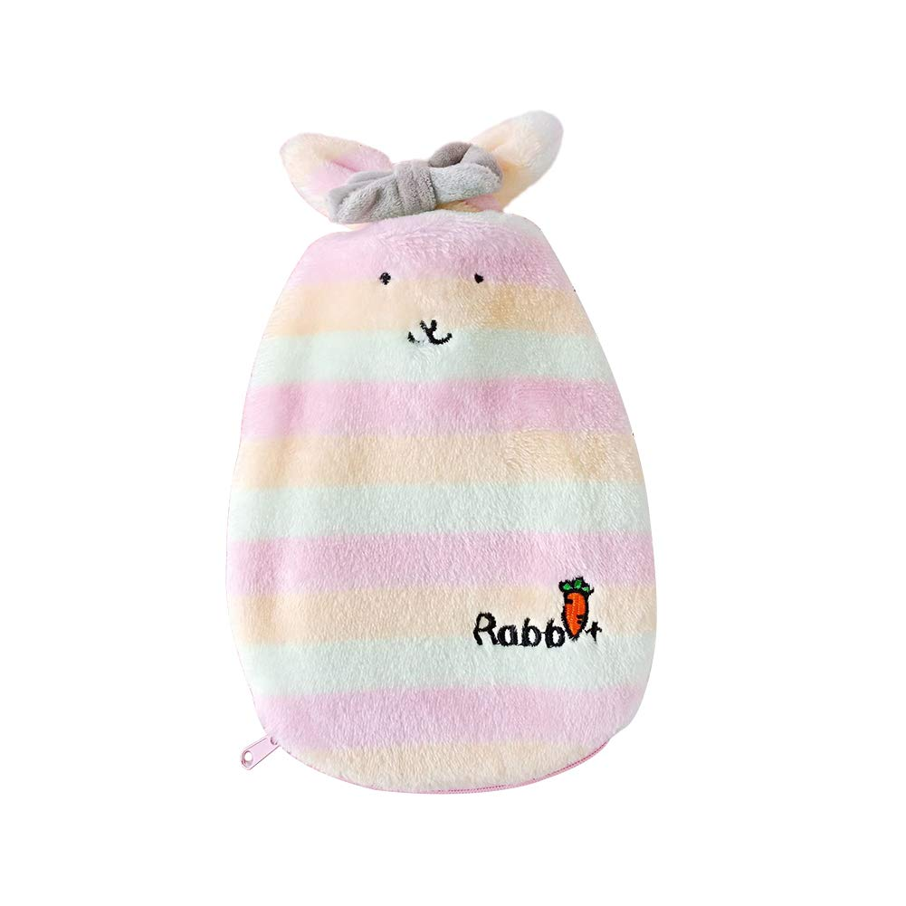 Topdo 1pc Rubber Hot Water Bottle Cartoon Hot Water Bag Hand Warmer Bag Warm Palace Warm Water Bag Plush Bunny Cute Explosion-Proof Cervical Spine Hand Warmers 350ml Size 2514CM (Yellow Bunny)