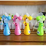 mk. park - New Mini Handheld Fan Portable Cooler Water Spray Cute Giraffe Air Cooling (Green)
