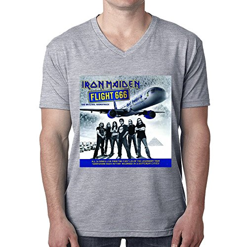 Iron Maiden Flight 666 Original Soundtrack Man's T shirt V Neck Grey