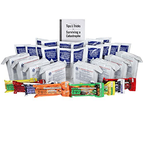 S.O.S. Rations Emergency 3600 Calorie Food Bar – 3 Day / 72 Hour Package with 5 Year Shelf Life W/ water and Millennium bars /Jeff Brown's Tips Guide
