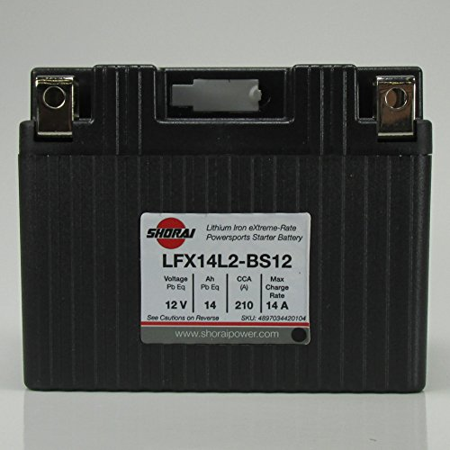 High Battery Lithium Performance - Shorai LFX14L2-BS12 LFX Lithium Iron Light Weight High Performance Motorcycle Battery Dirt Bikes and Street Bikes up to 600cc - 14 Ah 12V 1.5 Pounds 210 CCA - LEFT NEGATIVE TERMINAL - 5 YR WARRANTY!