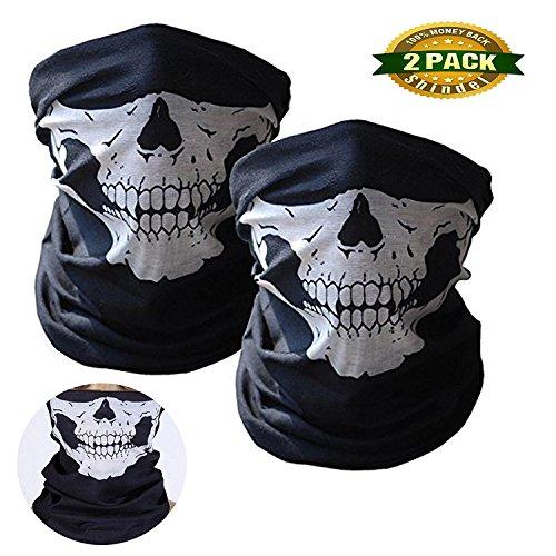 The Punisher Pc Costumes (Shindel Motorcycle Face Masks Skeleton Seamless Bandana X Ray Skull Face Mask Half Face, Mask Music Festivals Raves Riding, Outdoors, 2 PCS)