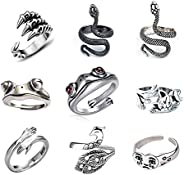 9 Pcs Vintage Frog Open Rings Set Knuckle Stacking Ring Snake Cat Animal Ring Boho Hug Finger Rings for Women