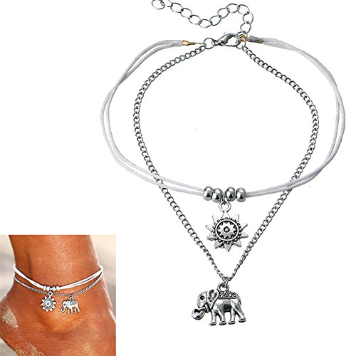 Foot Jewelry Elephant Sunflower Beads Multi-layer Boho Anklet Handmade Charm Foot Chain Gifts for (Elephant Anklet)