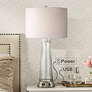Hamish Modern Table Lamp with USB and AC Power Outlet in Base Ribbed Glass White Drum Shade for Living Room Family – Possini Euro Design