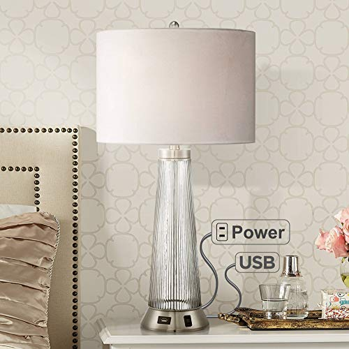 Hamish Modern Table Lamp with USB and AC Power Outlet in Base Ribbed Glass White Drum Shade for Living Room Family - Possini Euro Design