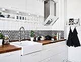 Beaustile Mosaic 3D Wall Sticker Home Decor Black and White Fire Retardant Backsplash Wallpaper Bathroom Kitchen DIY Design