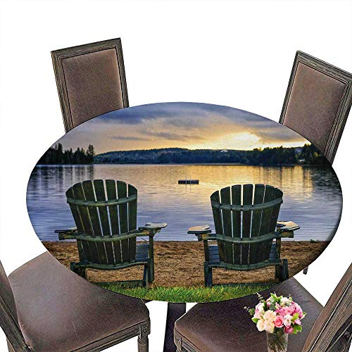 Adirondack Chair Satin - PINAFORE Round Fitted Tablecloth Adirondack Chair Watching Sun Over The River for All Occasions 35.5