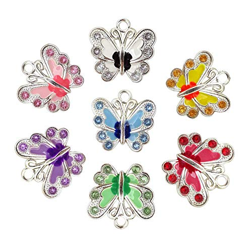 (Aysekone 7 Pcs/Lot Assorted Color Silver Plated Enamel Rhinestone Butterfly Charms Pendants for Jewelry Making DIY Handmade Craft Accessories)