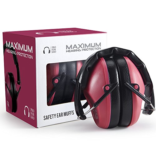 Pro For Sho 34dB Shooting Ear Protection - Special Designed Ear Muffs Lighter Weight & Maximum Hearing Protection - Standard Size, Poppy Red