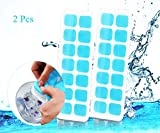 QingShe Ice Cube Tray, LFGB Certified Silicone Ice Cube Tray Molds with Non-Spill Lid, Best for Water, Cocktail and Other Drink (2 pcs, Blue)