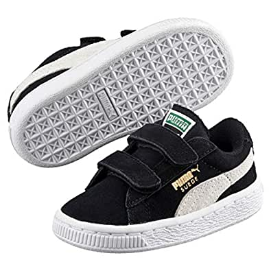 PUMA Suede 2 Straps Kids Boys Sneakers, Black-White, 4 US