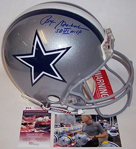 - Roger Staubach - Autographed Official Full Size Riddell Authentic Proline Football Helmet w/SB MVP - Dallas Cowboys - JSA