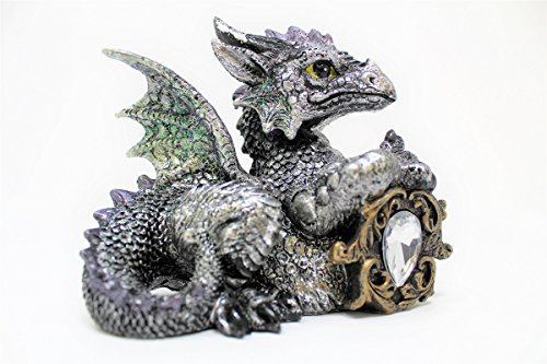 LCM Collectible Silver Baby Dragon Figurine Holding Cancer Zodiac Stone in Gold Tone Frame (Cancer Zodiac Frame)