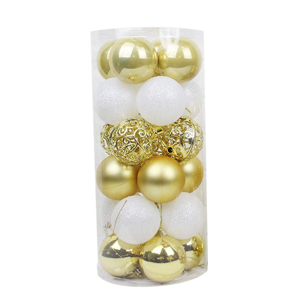 yaode Art Beauty Christmas Tree Baubles Christmas Ball Ornaments 24PC Plastic Christmas Tree Decoration Ball (Gold-style1, 6cm/2.36inch)