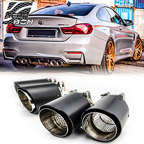 AeroBon Carbon Fiber M Performance Exhaust Tips Muffler Pipe for BMW M3 M4, 2014-18