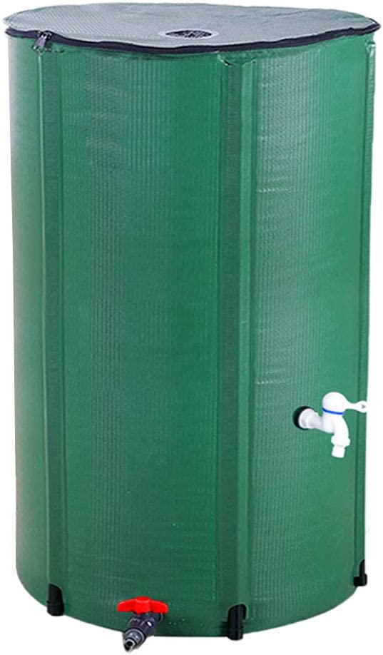 COMMYEE 66 Gallon Rain Barrel Foldable Tank Water Storage Container Collapsible Water Collector with Spigot Filter (66 Gallon,Green)