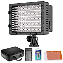 Neewer CN-160 LED Video Light Lamp Panel Dimmable for DSLR Camera DV Camcorder: (1) CN-160 LED Light + (1)2600MAH NP-F550 Battery + (1) AC Wall Charger with Car Adapter + (1) Case