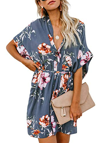 - Biucly Women's Floral Printed V Neck Tie Waist Mini Skater Half Sleeve T Shirt Kimono Casual Summer Dress Blue-A L