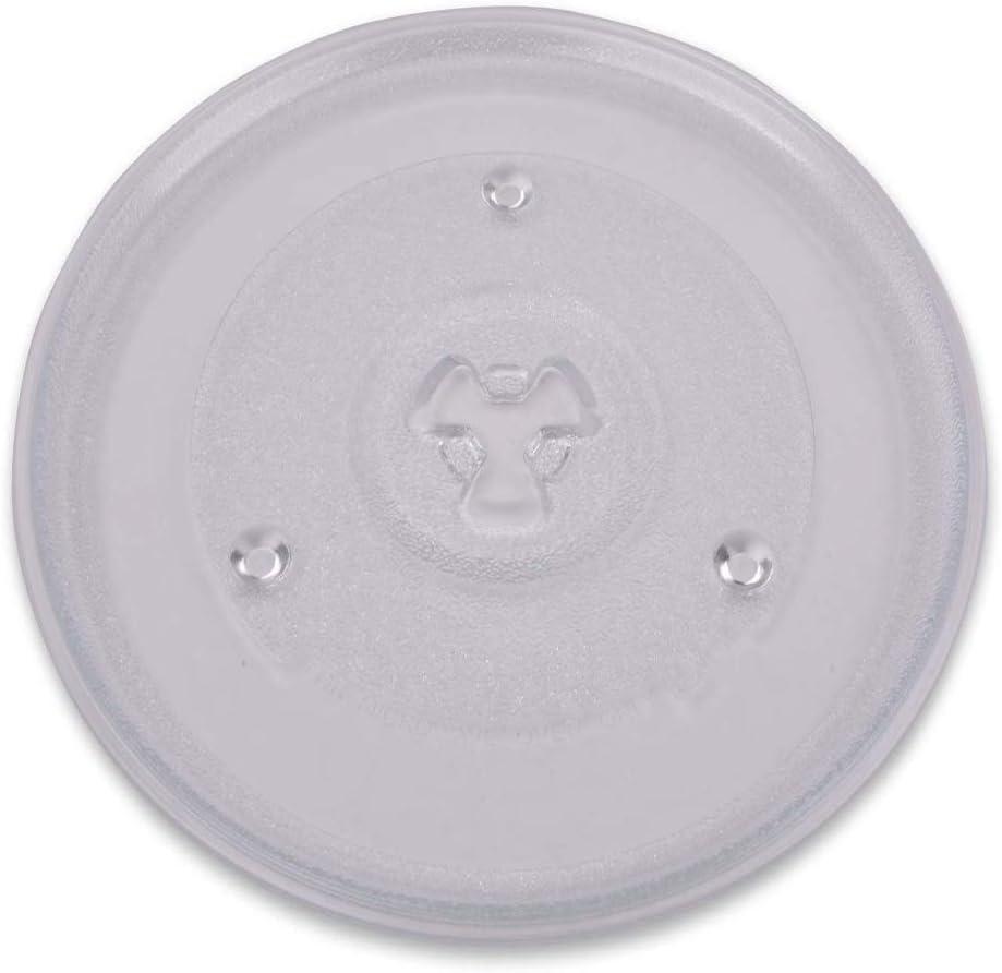 Plato giratorio para microondas 27,0 cm plato de microondas 270 mm plato giratorio de repuesto plato de cristal plato de cristal con 3 botones para microondas