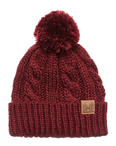 MIRMARU Winter Oversized Solid Color Cable Knitted Pom Pom Beanie Hat with Fleece Lining.(Burgundy) (Knitted Beanie Hat Pattern)