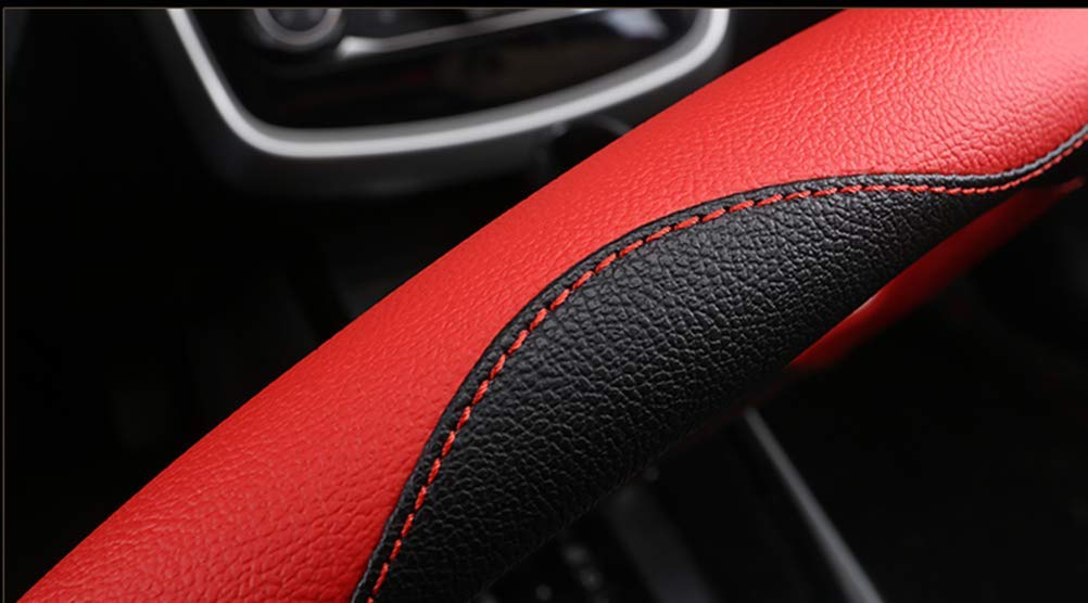 38 cm realizzato a mano in pelle Lisaion Automotive Coprivolante per auto da donna//ragazza antiscivolo per la maggior parte delle auto motivo floreale