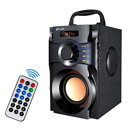 GearLox Portable Wireless Bluetooth Speaker 10W Subwoofer with Outdoor Music Speakers Support Remote Control FM Radio with TF Card Phones MP3 MP4 Home Computer Speaker (Black)