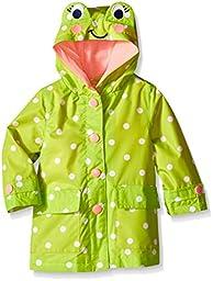 London Fog Baby Girls\' Enhanced Radiance Frog Rain Slicker, Light Green Frog, 18 Months