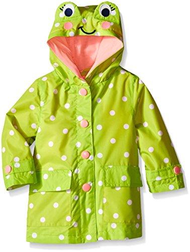 London Fog Baby Girls' Enhanced Radiance Frog Rain Slicker, Light Green Frog, 18 Months