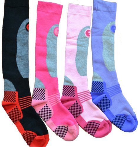 Ski Socks Women's 4 Pairs Thermal Socks Size US 6.5-9.5 Multicoloured