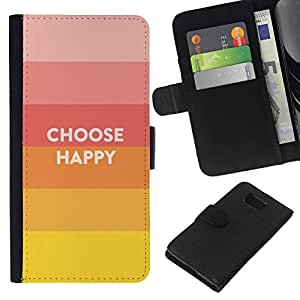 KingStore / Leather Etui en cuir / Samsung ALPHA G850 / Elija Slogan Cita Hippie feliz Positivo