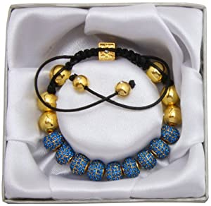 Lova Jewelry Lux Spiritual Sparkle Adjustable Shamballa Royal Blue Crystal Pave Bracelet