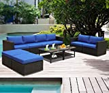 Leaptime Patio Furniture Garden Rattan Sofa 10-Piece PE Rattan Royal Blue Cushion Outdoor Couch Outside Conversation Set-Easy Assembled Royal Blue Cushion Black Wicker