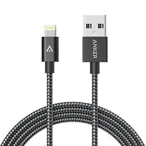 Anker 1.8m Nylon umflochtenes verwicklungssicheres USB Lightning Kabel [Apple MFi Zertifiziert] für iPhone SE / 6s / 6 / 6 Plus / 6s Plus, iPad Pro / Air 2 und weitere (Grau)