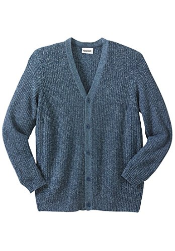 KingSize Men's Big & Tall Shaker Knit V-Neck Cardigan Sweater, Navy Marl (Match Cardigan Sweater)